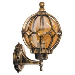Светильник садово-парковый Сфера PL3701 E27 180*200*320мм черное золото (на стену вверх)