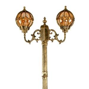 Светильник садово-парковый Сфера PL3708 2*E27 560*180*2200мм черное золото (столб 2,2м)