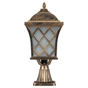 Светильник садово-парковый Тартан PL4063 E27 235*235*530мм черное золото (на постамент)