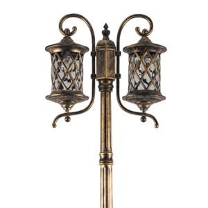 Светильник садово-парковый Тироль PL5038 2*E27 620*240*2550мм черное золото (столб 2,55м)