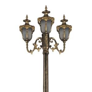 Светильник садово-парковый Флоренция PL4049 3*E27 570*570*2250мм черное золото (столб 2,25м)
