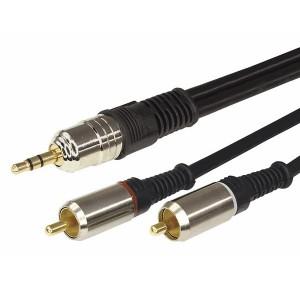 Шнур 3.5 Stereo Plug-2RCA Plug 1.5М GOLD металл