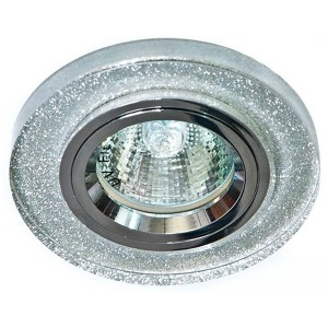 Светильник 8060-2 точечный MR16 G5.3/GU5.3 мерцающее серебро-серебро/Shinning Silver-Silver круг
