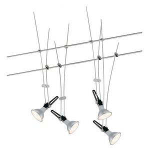 Тросовая система 4 светильника Paulmann NP Wire System GU5.3 4x4W 4x230lm 2700K 230/12V хром