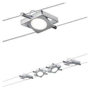 Тросовая система 4 светильника Paulmann MacLED 4x4W 4x200lm 2700K 230/12V 10m хром матовый