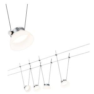 Тросовая система 4 светильника Paulmann IceLED I 4x4W 4x200lm 2700K 230/12V 10m хром матовый/белый