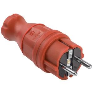 Вилка каучуковая прямая 2P+E 16А 250В IP44 красная ВБп3-1-0м ОМЕГА IEK