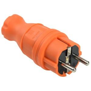 Вилка каучуковая прямая 2P+E 16А 250В IP44 оранжевая ВБп3-1-0м ОМЕГА IEK