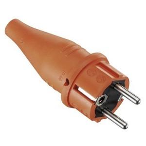 ABL Вилка с/з, резиновая, IP44, 16A, 2P+E, 250V, для кабеля сечением 1,5 мм2 (оранжевый)