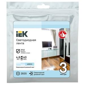 Лента LED 3м LSR-2835W60-4,8-IP65-12В IEK холодный белый