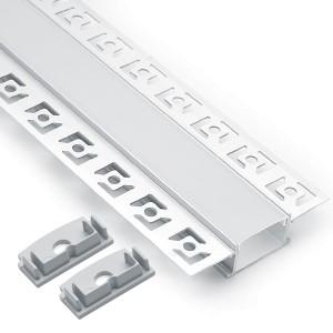 Профиль алюминиевый встраиваемый скрытый без крепежей, серебро, CAB254