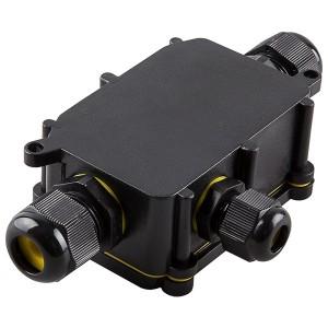 Водонепроницаемая распаячная коробка LD523 3 выхода 450V IP68 140х78х36mm черный
