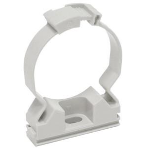 Хомутный держатель серый CFC40 для крепления гладкой жесткой и гофрированной трубы IEK