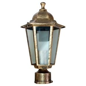 Светильник садово-парковый Классика 6103 E27 170*170*310мм черное золото (на столб)