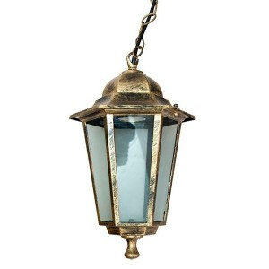 Светильник садово-парковый Классика 6105 E27 170*170*280мм черное золото (на цепи 500мм)