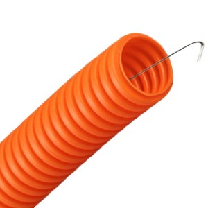 Труба гофрированная Промрукав ПНД HF d20мм с протяжкой, безгалогенная оранжевая [бухта 100м]