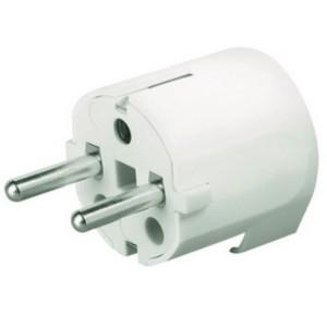 Вилка DKC 16А 2P+E 230В с боковым вводом кабеля белая