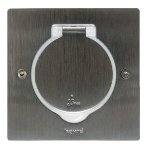 Лючок Legrand IP44 квадратный 2 модуля нержавеющая сталь