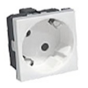Розетка 45° с заземлением Экопласт LK45, со шторками глянцевая белая