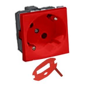 Розетка 45° с ключом (в комлекте) с заземлением Экопласт LK45, со шторками глянцевая красная