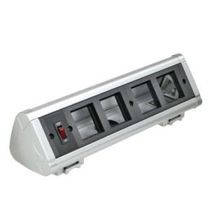 Блок настольный Экопласт с выключателем на 4 модуля (45х45мм) для крепления к столу (алюминий) ,IP20
