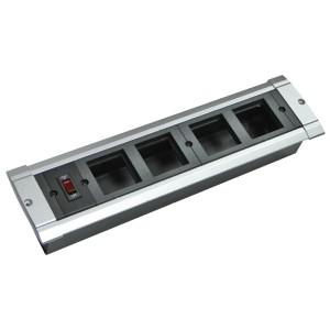 Блок настольный встраиваемый, с выключателем на 4 модуля (45х45мм) для креп. к столу (алюмин), IP20