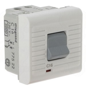 Автоматический выключатель Legrand Mosaic термомагнитный 1Р + N 230 В~  16 A  2 модуля  белый (автомат)