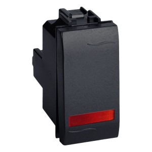 Выключатель с подсветкой DKC Brava 1 модуль черный