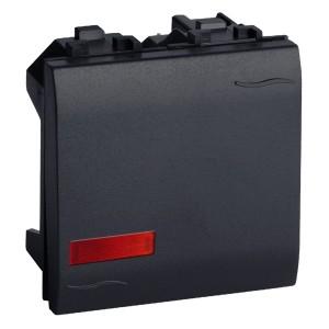 Выключатель с подсветкой DKC Brava 2 модуля черный