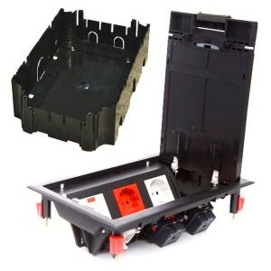 LUK/6 Люк в пол Экопласт на 6 механизмов (45х45мм) с суппортом и коробкой 70060+70160, пластик