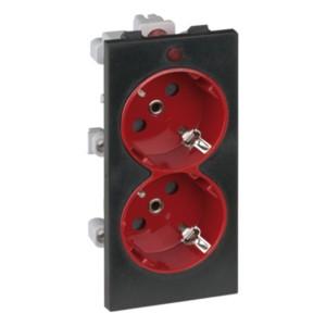 Розетка двойная 2P+E 16А 250В, S-модуль 52x108мм Simon Connect, графит + красный