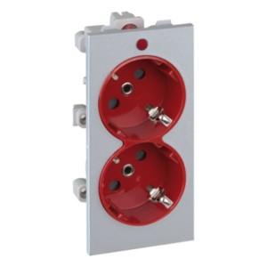 Розетка двойная 2P+E 16А 250В, S-модуль 52x108мм Simon Connect, алюминий + красный