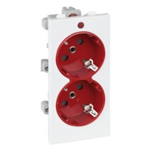 Розетка двойная 2P+E 16А 250В, S-модуль 52x108мм Simon Connect, белый + красный