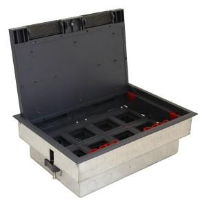 LUK/8 Люк в пол Экопласт на 8 механизмов (45х45мм) с суппортом и коробкой 70080+70180, сталь