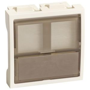 Накладка-держатель для двух модулей RJ типа Keystone со шторок  2 модуля SE Ultra, белый