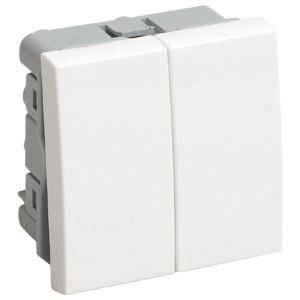 Выключатель переключатель двухклавишный (на 2 модуля) IEK Праймер белый