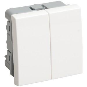 Выключатель двухклавишный (на 2 модуля) IEK Праймер белый