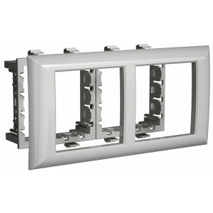 "Рамка-суппорт 4 модуля для к-канала ""In-liner Front"" и ""In-liner Aero"" DKC Avanti серебристый металл"