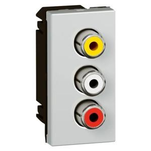 Аудио- и видеорозетка Legrand Mosaic разъем 3 RCA видео+стерео LCS? 1 модуль алюминий