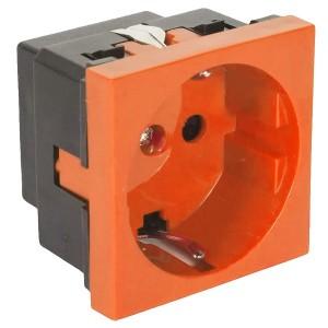 """Розетка с з/к, со шторками (оранжевый) LK45 ( для выделения """"чиcтого питания сети"""")"""