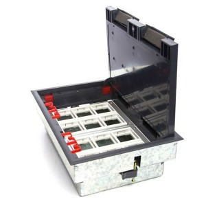 LUK/12 Люк в пол Экопласт на 12 механизмов (45х45мм) в комплекте с коробкой и суппортами