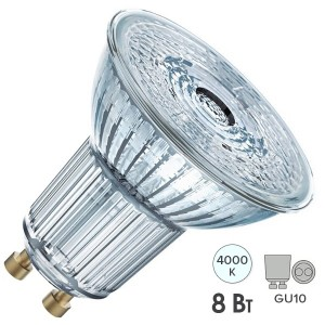 Лампа светодиодная Osram LED 1-PARATHOM PAR16 80 8W/840 DIM 36° 230V GU10 575lm d50x58mm