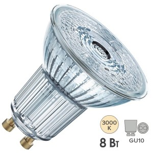 Лампа светодиодная Osram LED 1-PARATHOM PAR16 80 8W/830 DIM 60° 230V GU10 575lm d50x58mm