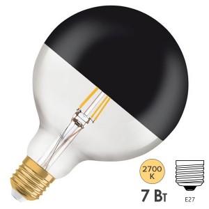Лампа Osram GLOBE125 Vintage 1906 LED CL MIRROR BLACK 7W 2700K E27 178x125mm черный мат