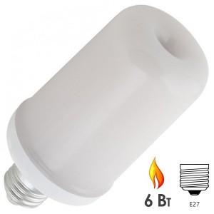Лампа светодиодная декоративная с эффектом пламени LED-L60 6W FLAME E27 FR 150-265V 65x135mm