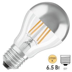 Лампа Osram CL A MIRROR 6.5W/827 230V FIL E27  650Lm d60x105mm Серебряное покрытие